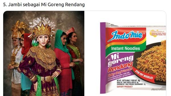 Veronika Tri Mardani asal Jambi, kostum adatnya disamakan dengan mi goreng rendang.(Twitter @mmaryasir)