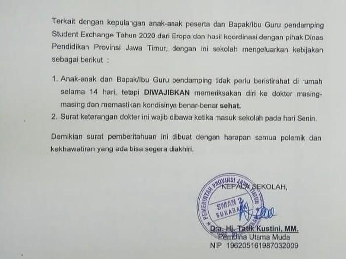 15 Siswa Surabaya Diminta Istirahat Di Rumah Setelah Pulang Dari Eropa