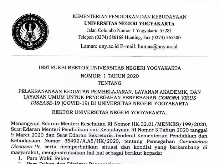 Rektor Universitas Negeri Yogyakarta (UNY) instruksikan kuliah online cegah persebaran Virus Corona, Sabtu (14/3/2020).