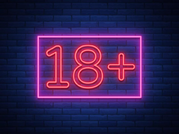 Eighteen plus, age limit, sign in neon style. Only for adults. Night bright neon sign, symbol 18 plus. Vector Illustration.