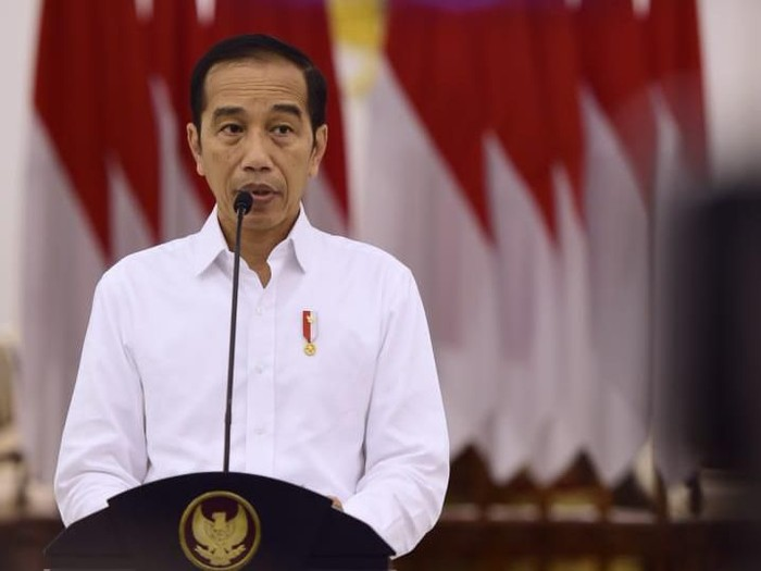 Presiden Jokowi menggelar konferensi pers di Istana Bogor mengenai penanganan virus corona Covid-19.