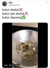 Tanggapan Heboh Netizen Saat Lihat Video Bubur Digoreng