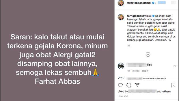 Postingan Farhat Abbas soal obat alergi untuk virus corona.