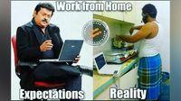 Meme karantina di rumah karena virus corona