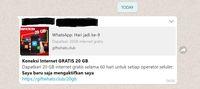 Hoax yang beredar di WhatsApp soal koneksi internet gratis 20GB.