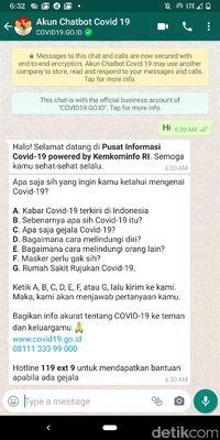 Chatbot WhatsApp COVID-19 resmi Pemerintah RI.