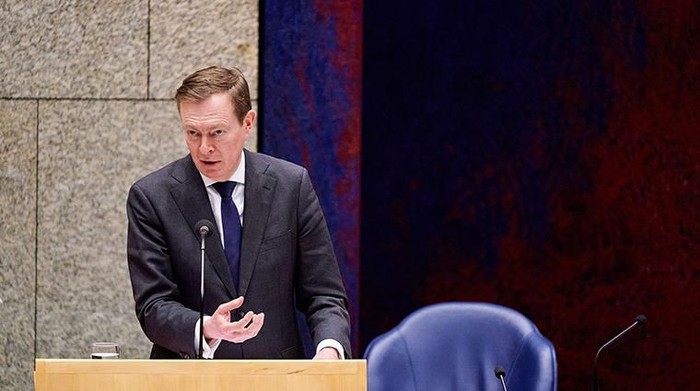Dutch Minister Bruno Bruins for Medical Care (VVD) speaks during a debate about the developments surrounding the coronavirus, in The Hague, the Netherlands, on March 18, 2020. (Photo by Phil NIJHUIS / various sources / AFP) / Netherlands OUT (Photo by PHIL NIJHUIS/ANP/AFP via Getty Images)