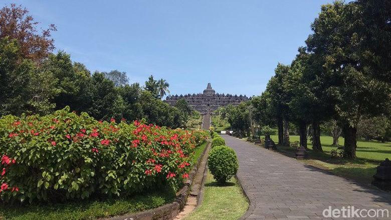 Candi Borobudur pasca penutupan sementara, Jumat (20/3/2020)