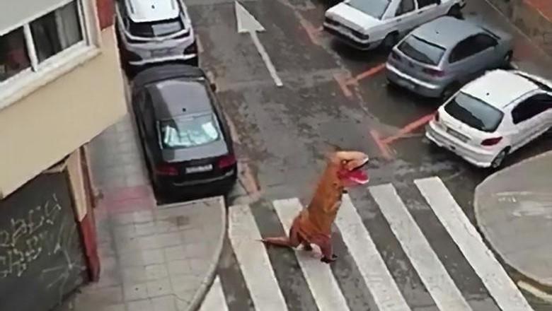 pria kostum T-Rex