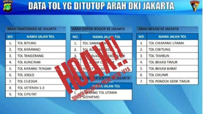 Hoax Gerbang Tol ke Jakarta Ditutup karena Lockdown