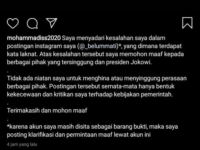 Permintaan maaf mahasiswa Solo yang dutangkap Polda Jateng dengan tuduhan hina Jokowi, Sabtu (21/3/2020).