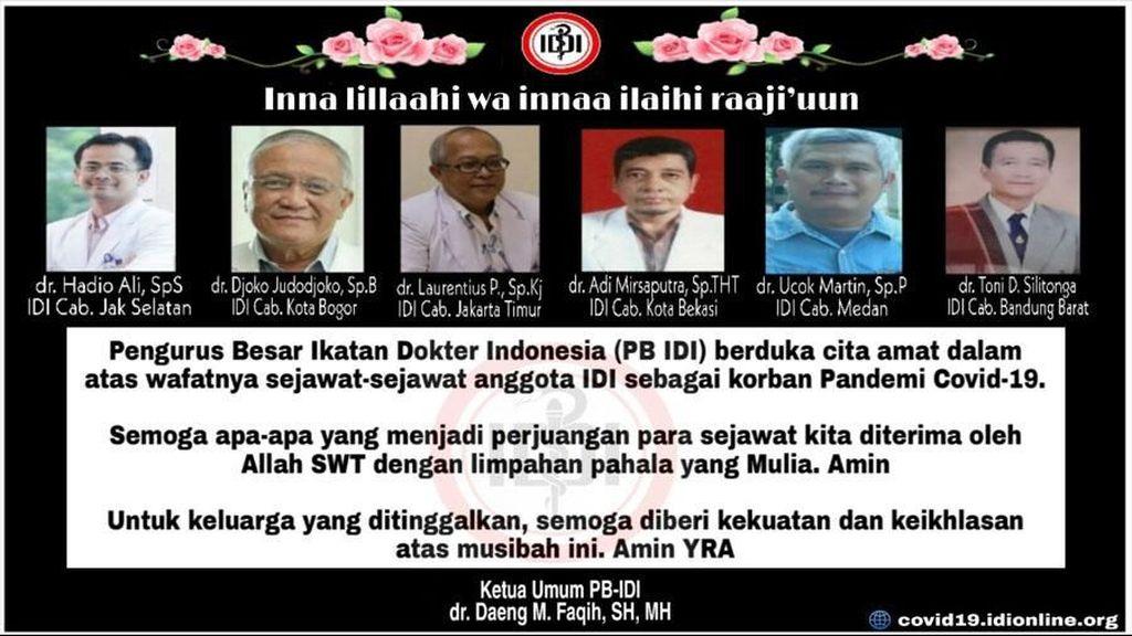 6 Dokter Indonesia Jadi Korban Pandemi Corona, Ini Daftarnya