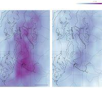 Gambaran polusi udara di Seattle setelah adanya larangan aktivitas luar rumah akibat virus corona.