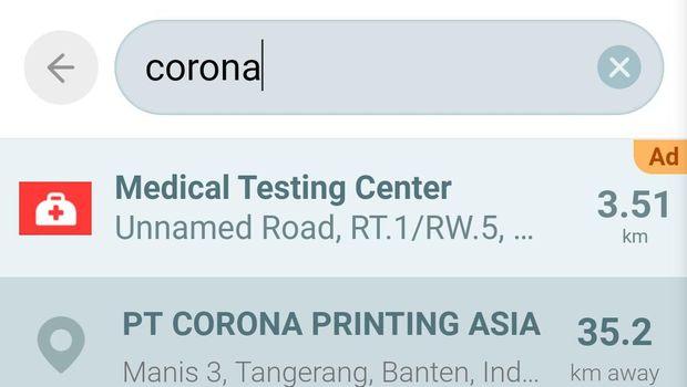 Memasukkan keyword 'corona' ke aplikasi Waze.