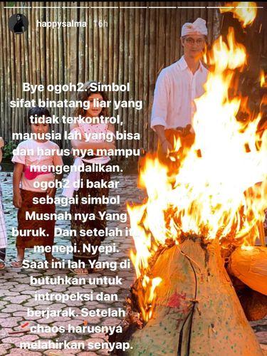 Doa Happy Salma dan Keluarga Bakar Ogoh-ogoh di Hari Raya Nyepi