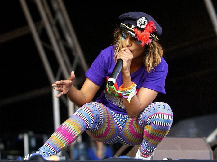 INVERARAY, SCOTLAND - SEPTEMBER 2:  Mathangi Maya Arulpragasam, aka M.I.A, performs on the Oyster Stage during the third day of the inaugural Connect Music Fesival, held in the grounds of Inveraray Castle on the banks of Loch Fyne, on September 2, 2007 in Argyllshire, Scotland.  (Photo by Jim Dyson/Getty Images)