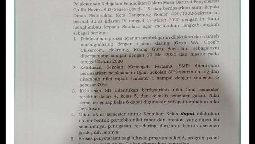 Pengumuman! Siswa di Tangerang dan Tangsel Belajar di Rumah Sampai Lebaran