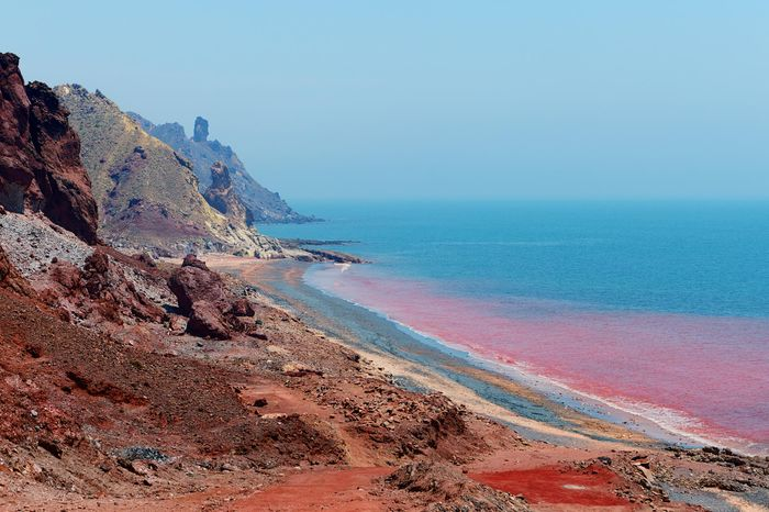 Red coast on the Iranian island of Hormoz, Hormozgan Province, Southern Iran.