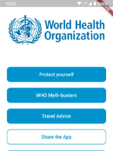 Halaman depan aplikasi WHO MyHealth