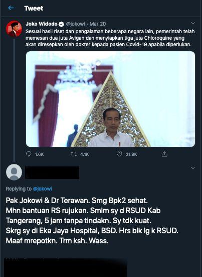 Willy Dreeskandar mengirim pesan melalui Twitter ke akun Presiden Jokowi