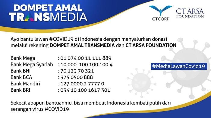 Donasi Transmedia dan CT Arsa Foundation untuk penanganan virus Corona COVID-19
