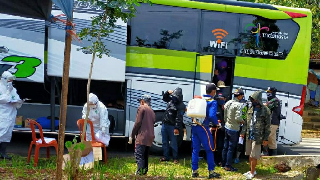 3 Bus Datang dari Jakarta ke Ciamis, 109 Orang Harus Isolasi Mandiri
