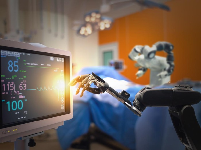 smart medical technology concept,advanced robotic surgery machine at Hospital, robotic surgery are precision, miniaturisation, smaller incisions, decreased blood loss, less pain,  quick healing time