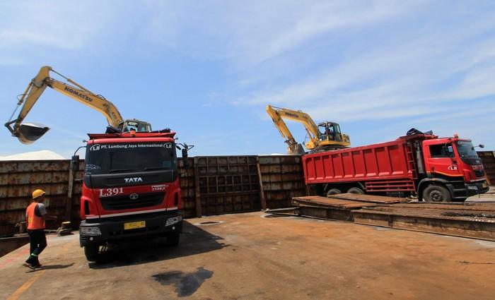 Sejumlah pekerja PT Lumbung Jaya International (LJI), dengan truk  mengangkut garam di Pelabuhan Pelindo, Cirebon, Jawa Barat, Jumat (27/3/2020). Saat ini, Pemerintah tengah mengkaji  garam untuk menjadi komoditas strategis dan prioritas no.1 di Indonesia, yang dibutuhkan 400 jenis industri, dan menargetkan produksi sebesar 3 juta ton pada tahun 2020, serta menjadikan Indonesia swasembada garam. ANTARA FOTO/Dedhez Anggara/ama.