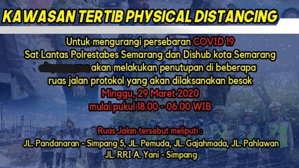 Kota Semarang Tutup 5 Jalan untuk Tangkal Corona, Berikut Daftarnya
