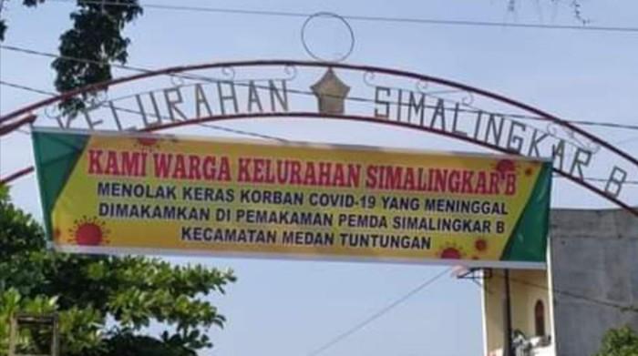 Screenshot viral spanduk tolak jenazah Corona di Medan