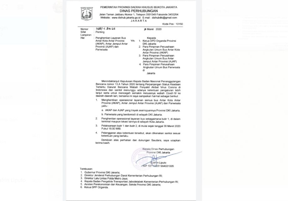 Surat Dishub DKI Jakarta terkait penghentian sementara operasional bus