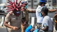 Viral Polisi Berhelm Corona Tertibkan Lockdown di India