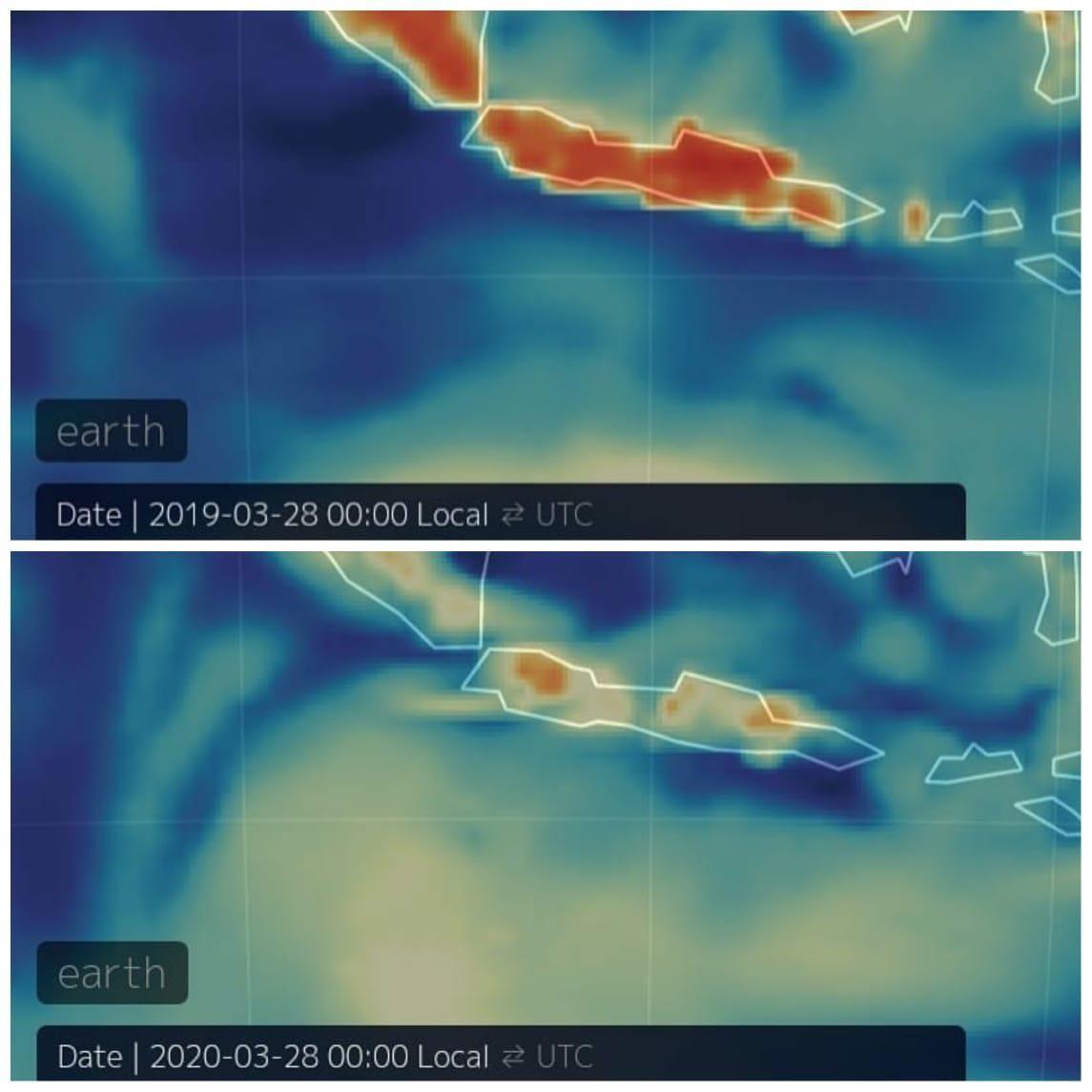 Perbandingan kualitas udara Indonesia saat ini dengan tahun lalu.
