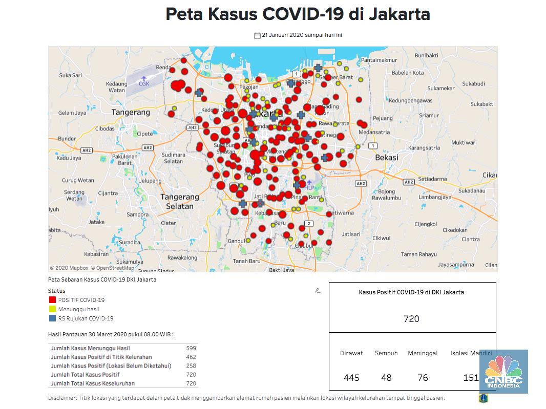 Peta Corona Jakarta 30 Maret: 720 Positif, 76 Meninggal