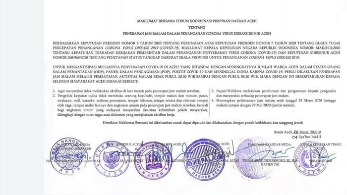 Maklumat Bersama Pemerintah Aceh soal Jam Malam Terkait Corona