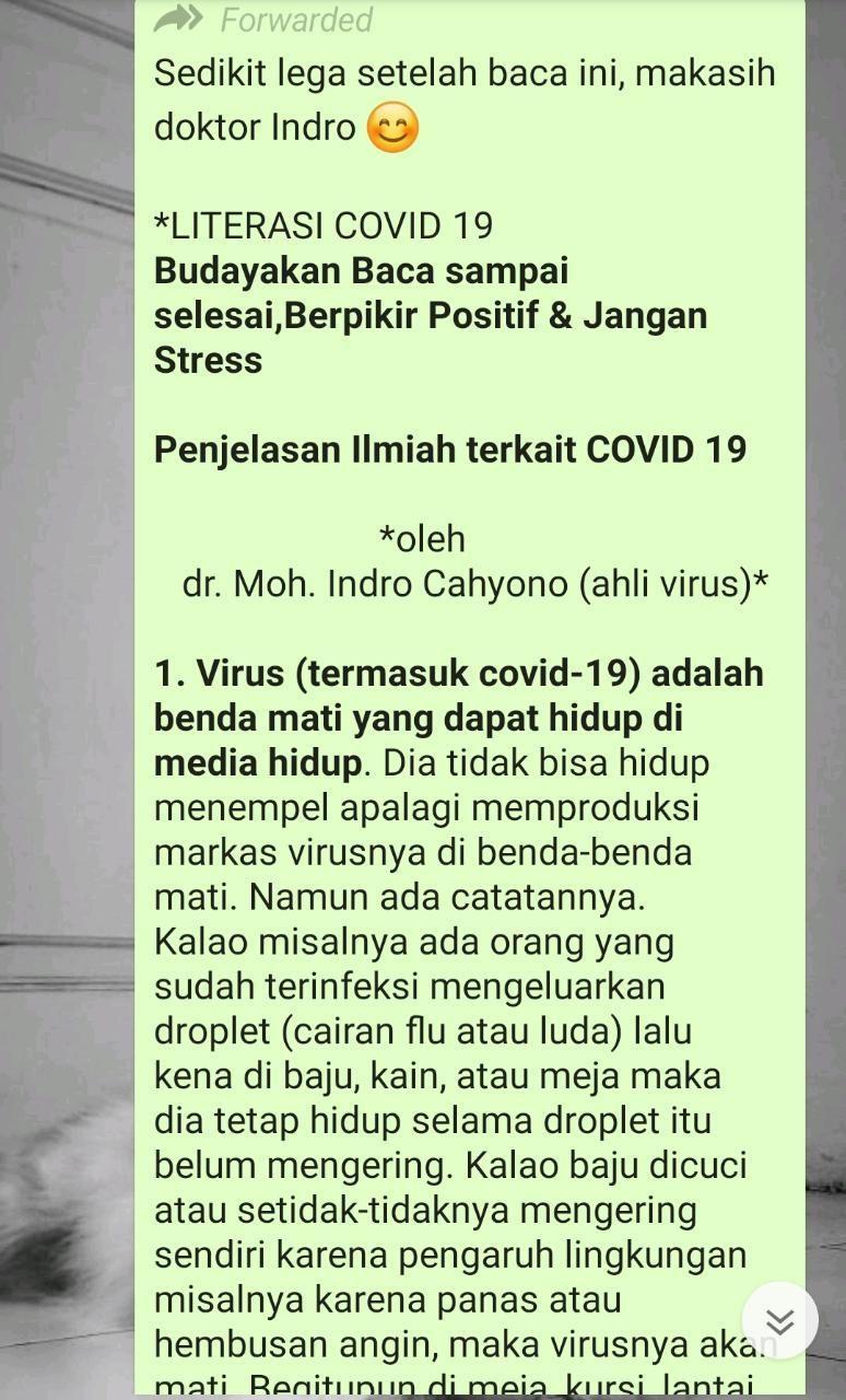 Broadcast awal yang mengatasnamakan pakar virus Indro Cahyono, padahal sang ahli menyebut broadcast ini sebagai hoax.