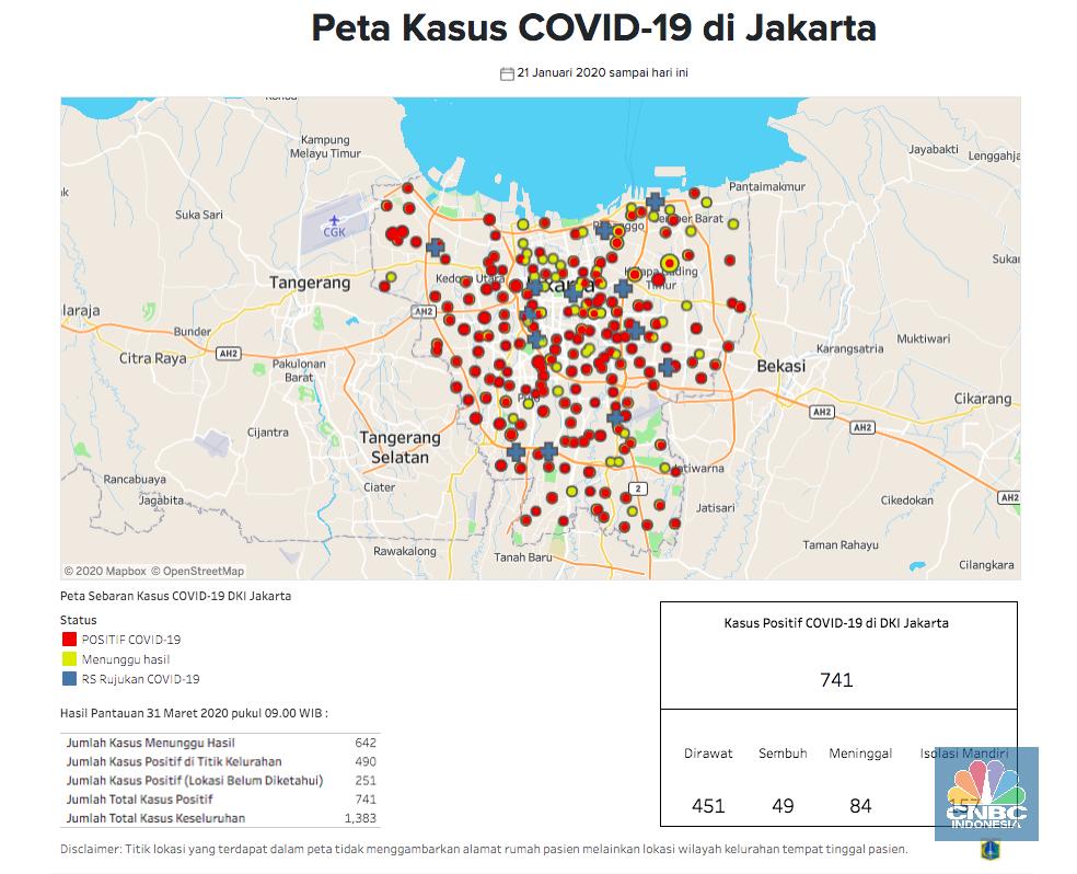Peta Corona Jakarta 31 Maret 741 Positif 84 Meninggal