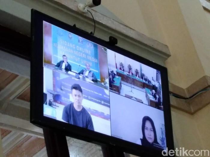 Sidang kasus pembunuhan hakim Jamaluddin digelar lewat video conference (Datuk Haris/detikcom)