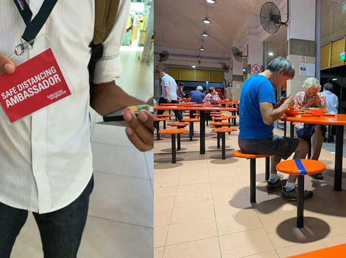 Pengawas social distancing di hawker center Singapura