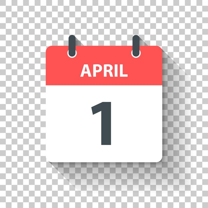 April 1. Calendar Icon with long shadow in a Flat Design style. Daily calendar isolated on blank background for your own design. Vector Illustration (EPS10, well layered and grouped). Easy to edit, manipulate, resize or colorize.