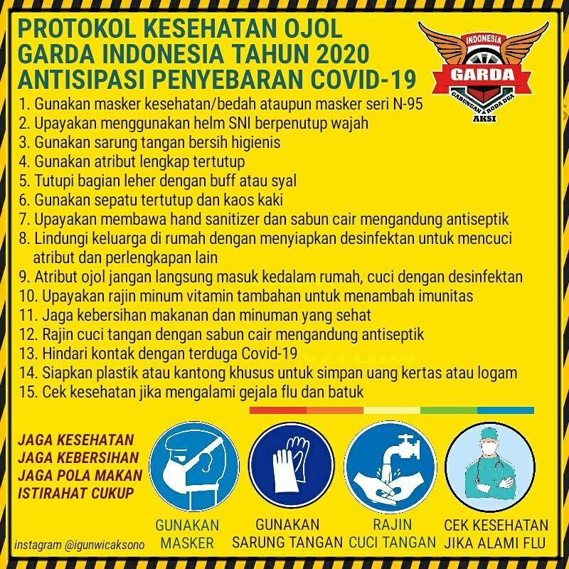 Protokol kesehatan Ojol Garda Indonesia