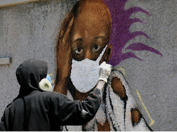 Mural Perang Melawan Corona di Senegal
