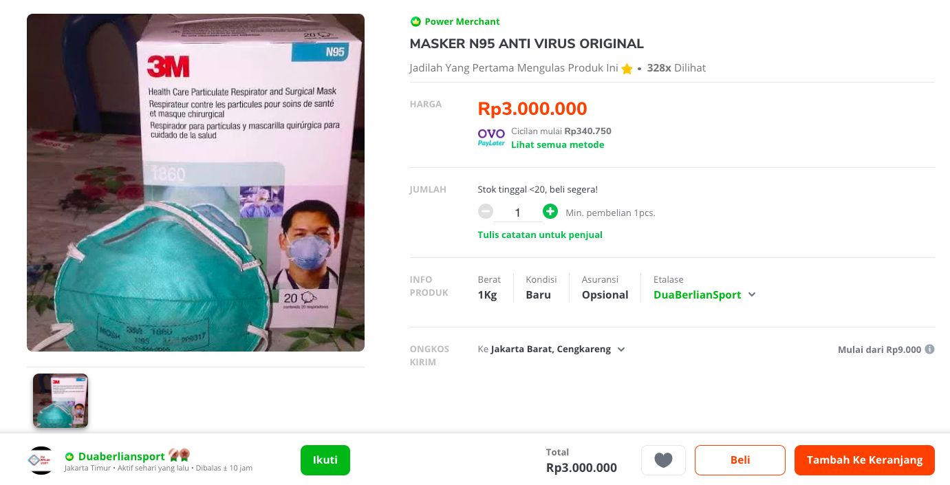 Kacau, Masker N95 Dijual Rp 3 Juta di e-Commerce