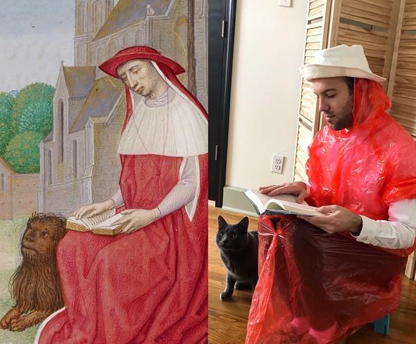 Ini kreasi salah seorang netizen. Ia mencoba untuk menjadi St Jerome dalam lukisan prayer book. Outfitnya dari ponco! (Getty Museum)