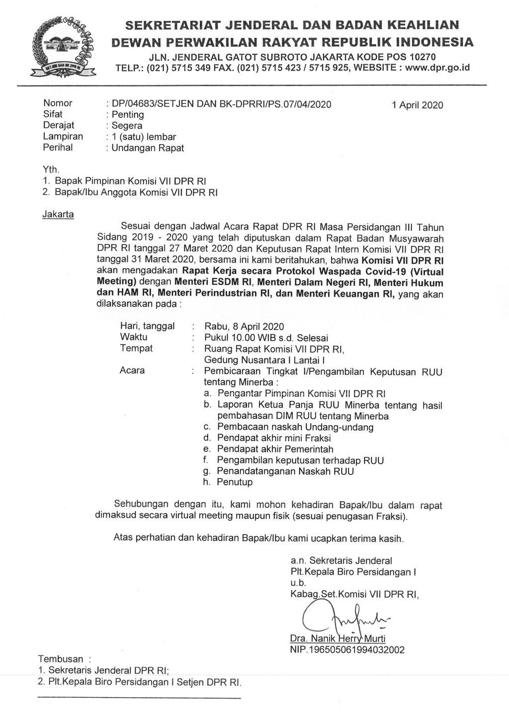 Di Tengah Musibah Corona, DPR Mau Ketuk RUU Minerba 8 April!
