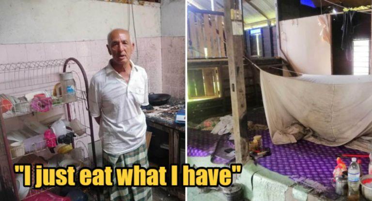 Miris! Kakek Ini Hanya Makan Nasi Garam dan Roti Celup Air Putih