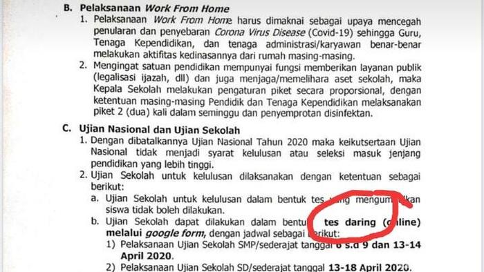 Surat Edaran Kepala Dinas Klaten soal ujian sekolah siswa SMP via online