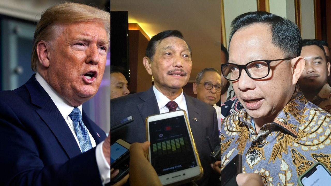 Trump, Luhut, dan Tito sama-sama pernah berbicara Corona vs panas sinar matahari. (Repro detikcom)