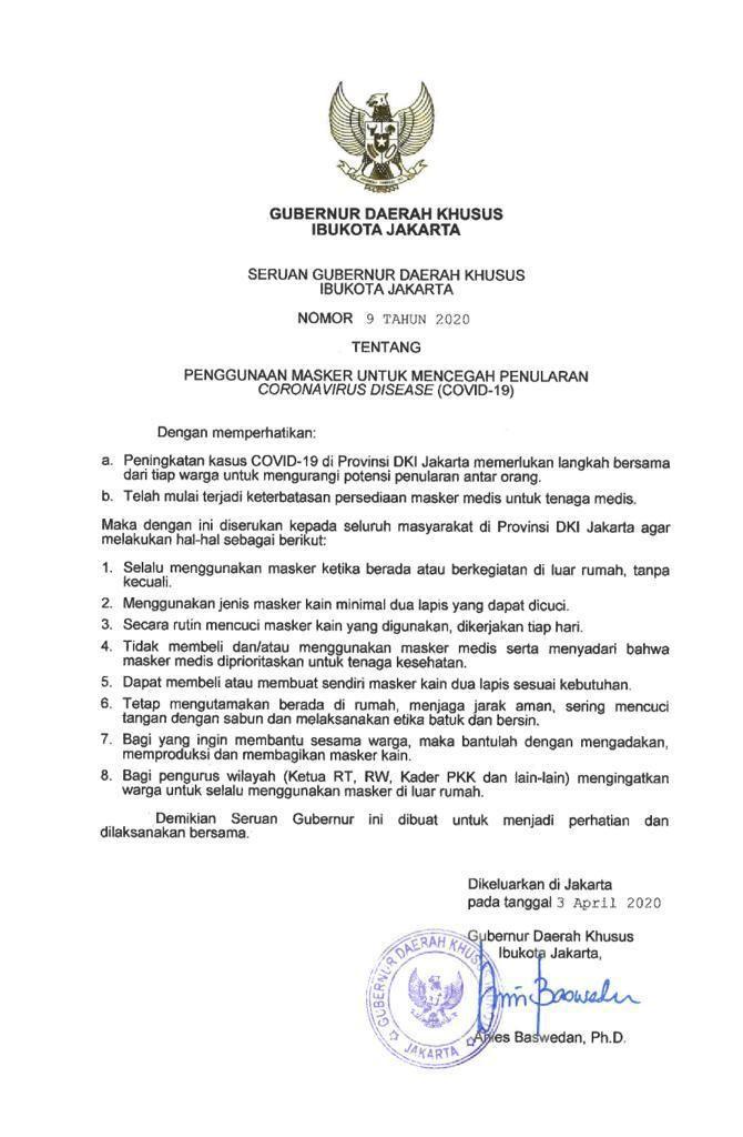 Seruan Gubernur DKI Jakarta
