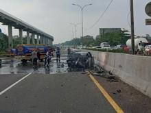 Wakil Jaksa Agung Meninggal, 1 Penumpang Nissan GT-R yang Terbakar Luka Ringan
